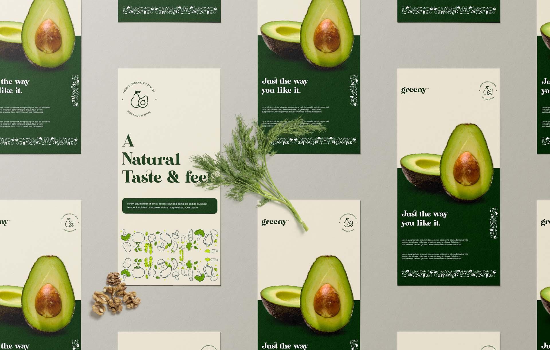 Greeny avocado flyer branding