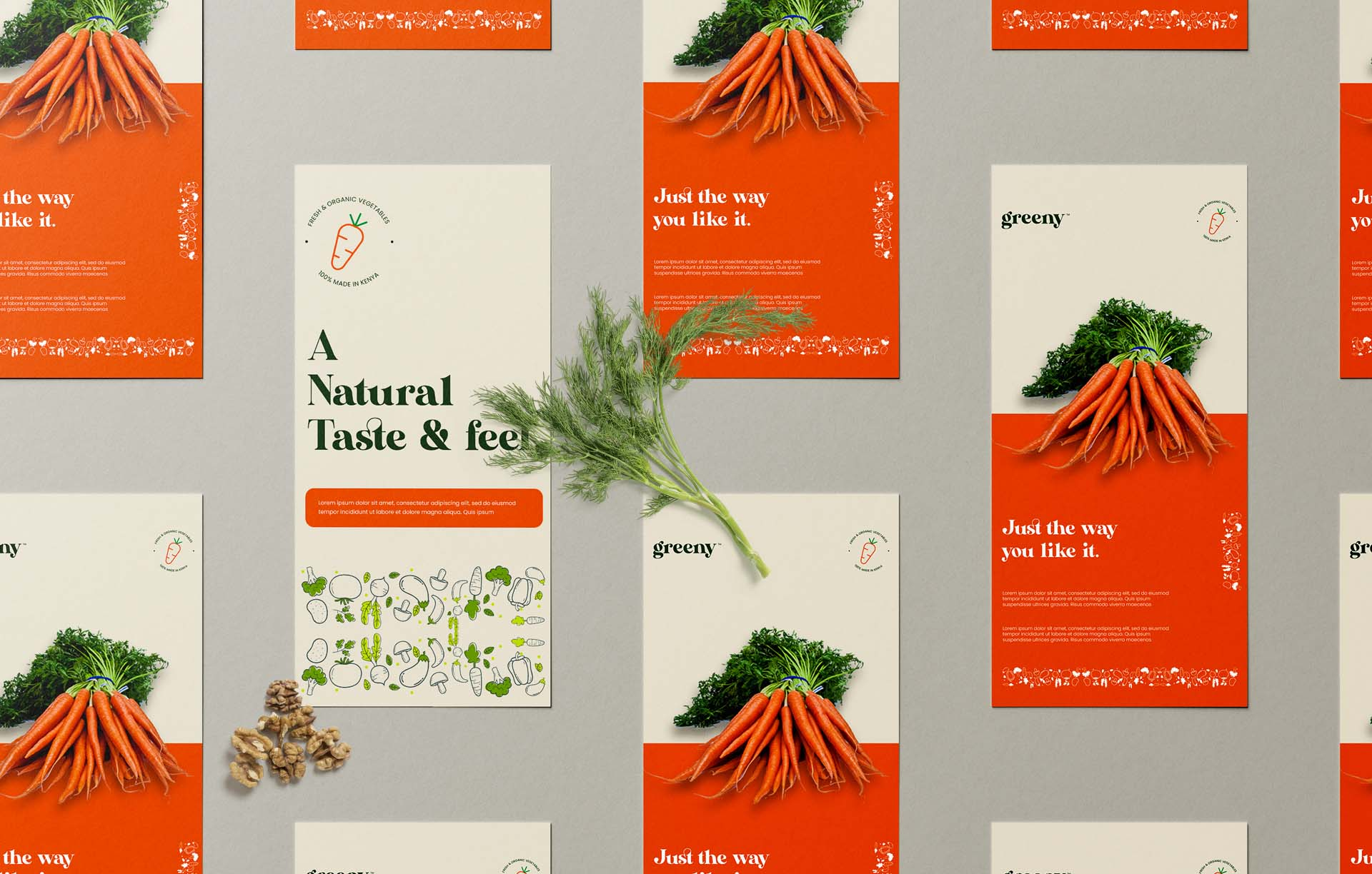 Greeny carrot flyer branding