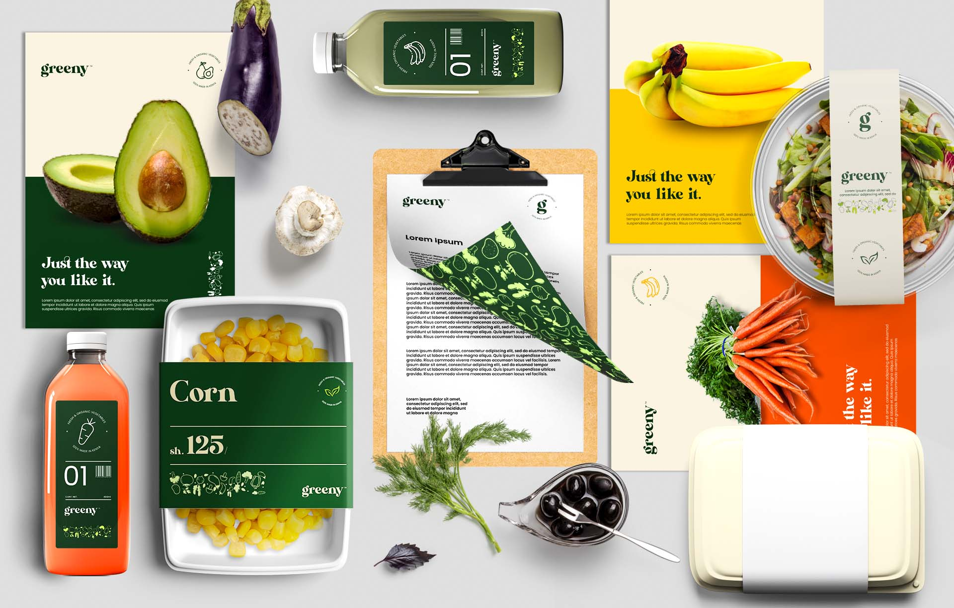 Greeny stationery and product branding