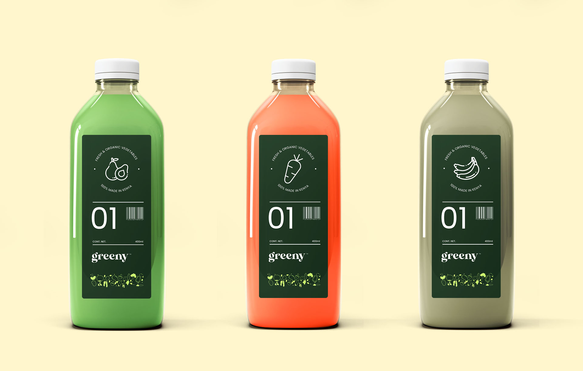 Greeny flavored juices