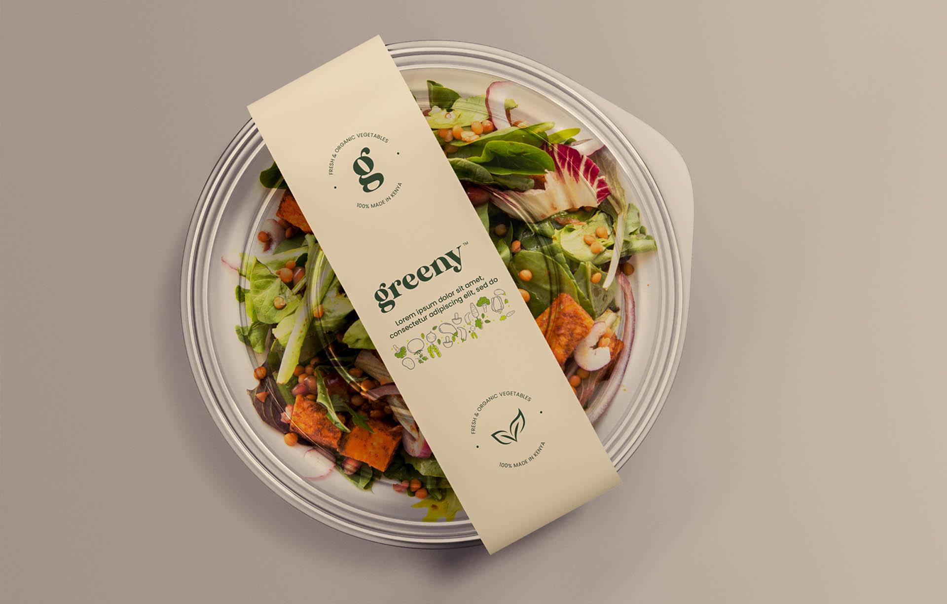 Greeny salad food packaging sample